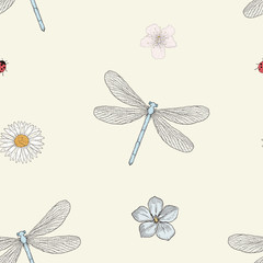 dragonfly and flowers seamless pattern
