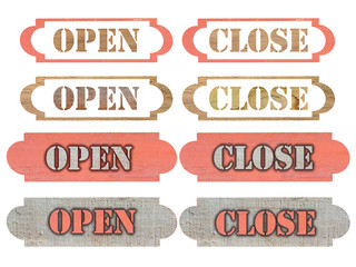 open and close sign make from wooden
