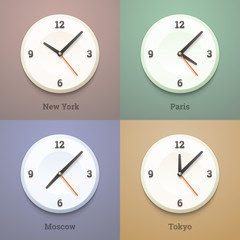 World city time watches on the wall. Vector illustration.