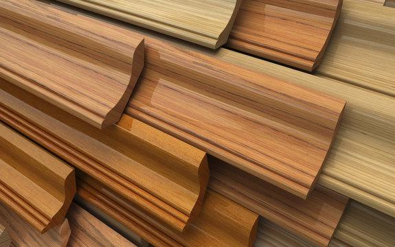 Set of dark wooden plinth, plank. Industrial 3d illustration