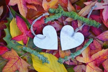 Wall Mural - twee houten harten met herfstbladeren