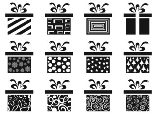 black gift box icon set