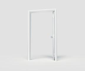 Open White Door on White background