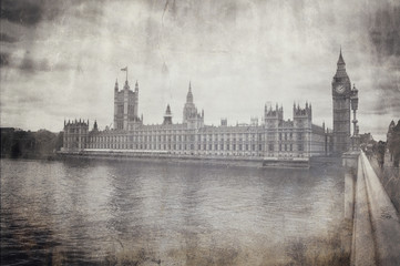 Wall Mural - Vintage greyscale view of Houses of Parliament