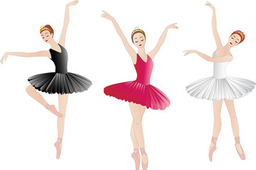 Ballerinas set isolated on white