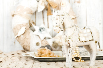 romantic vintage background with wooden horse and  old lace