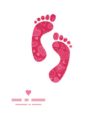 Vector doodle hearts footprints silhouettes pattern frame