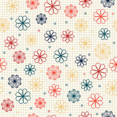 Seamless pattern with flowers in warm colors