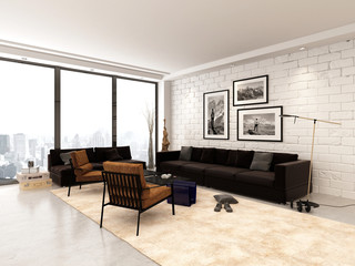 Contemporary open-plan living room interior