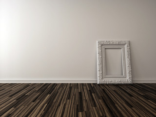 Empty living room interior with a single frame