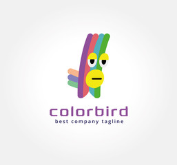 Abstract vector parrot monster logo icon concept. Logotype