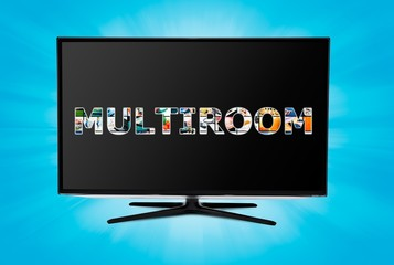 Television multi-room technology. Display with multiple masked i