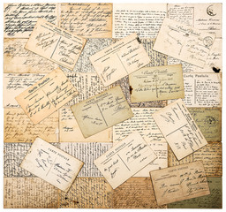 vintage handwritten postcards. grunge paper background