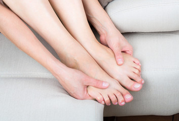 Woman legs and hands
