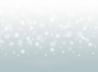 grey abstract falling snowflake bokeh winter background