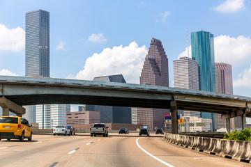 Fototapete - Houston skyline at Gulf Freeway I-45 Texas US