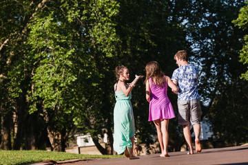 Teen Boy Girls Walking Away Relaxing Recreational