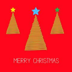 Three Christmas tree set  star Scribble Merry Christmas  Flat