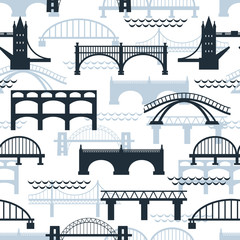 Seamless pattern of bridge silhouettes