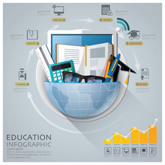 Global Education And Graduation Infographic With Round Circle Di