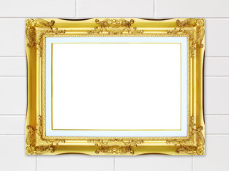 golden frame on cement wall background