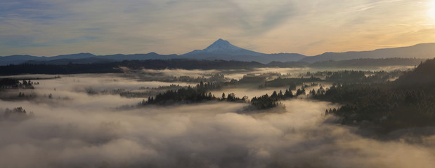 Sunrise over Mount Hood and Sandy River One Early Autumn Morning