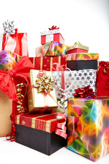 Gift boxes and christmas bags,Isolated on white.