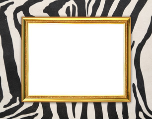 golden frame  with zebra texture background