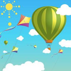 Illustration balloon and kite