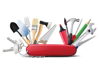 Swiss universal knife with tools. All in one. Creative illustrat Fototapete
