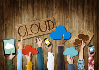 Hands Holding Cloud Computing Digital Devices