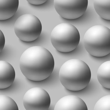 Seamless pattern with realistic grey spheres
