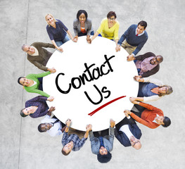 Diverse People in a Circle with Contact Us Concepts