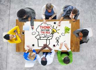 People in a Meeting Outside the Box Sayings