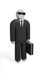 Abstract 3D model of businessman in black suit with a briefcase
