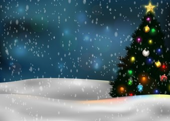 Christmas tree and decorations on winter background
