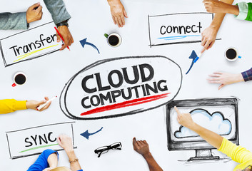 Multi-Ethnic Hands Pointing Cloud Computing