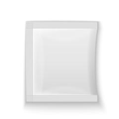 Blank white plastic sachet for medicine, condoms