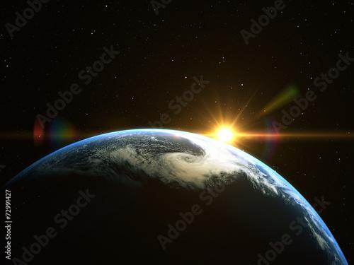 Fototapete Earth and Sun