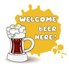 Vector illustration with mug of beer and invitation