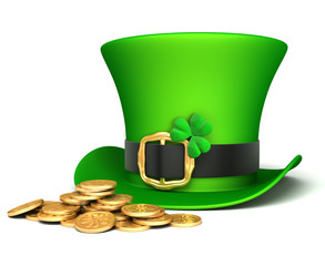 Leprechaun hat and lucky coins