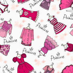 Vector pattern with pink clothes for little girls