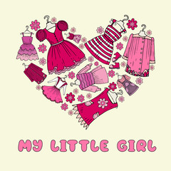 Vector stylized heart with clothes for little girl