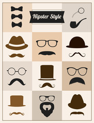 Hipster style mustache hat sunglasses vector set
