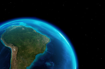 South America continent from outer space