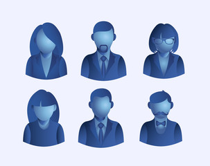 Social media people user icons set