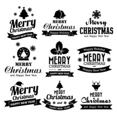 Christmas set of Calligraphic And Typographic Design With Labels