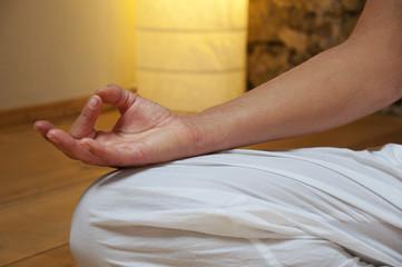 Close up of a woman meditating