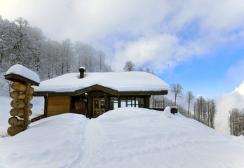 House in the mountains in winter