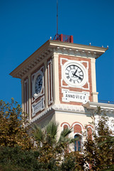Architecture tower with clock roman